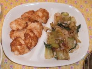 鶏むね肉のしょうが焼き&長ねぎとチンゲンサイの炒め物